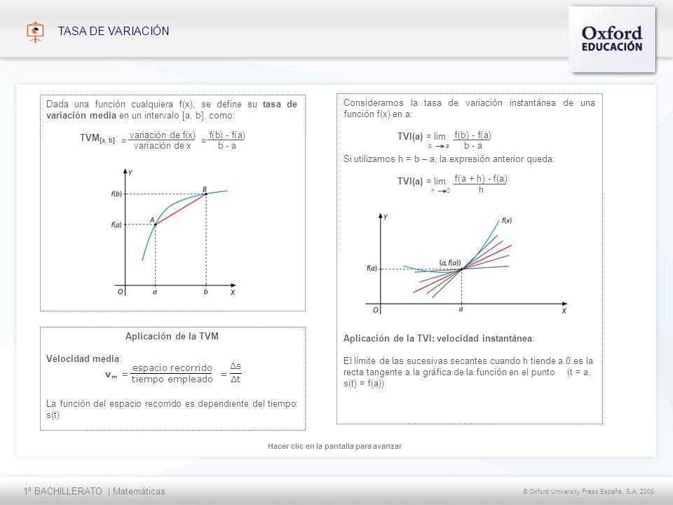 TASA DE VARIACIÓN Dada una función cualquiera f(x), se define su tasa de variación media en un intervalo [a, b], como:
